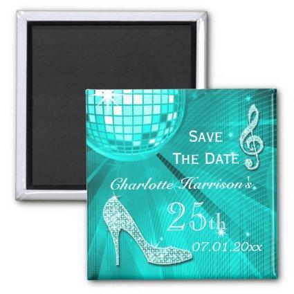 Sparkly Stiletto Heel 25th Birthday Save The Date Magnet