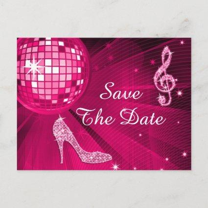 Sparkly Stiletto Heel 40th Birthday Save The Date Announcement