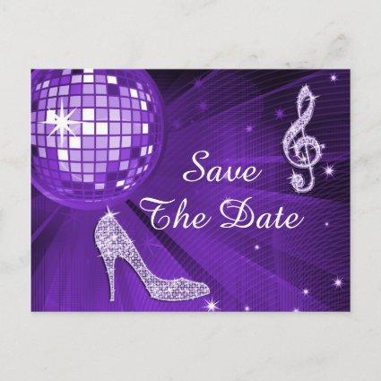 Sparkly Stiletto Heel 50th Birthday Save The Date Announcement