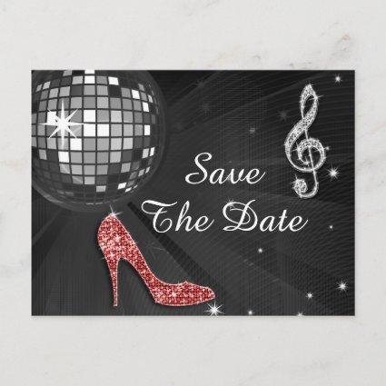 Sparkly Stiletto Heel 55th Birthday Save The Date Announcement