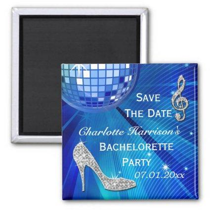 Sparkly Stiletto Heel Bachelorette Save The Date Magnet