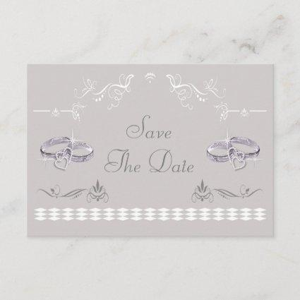 Sparkly Wedding Bands & Hearts Save The Date