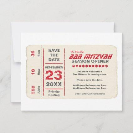 Sports Star Bar Mitzvah Save the Date Card in Red