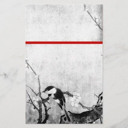 SPRING BIRD AND FLOWER TREE Black White Red Stationery