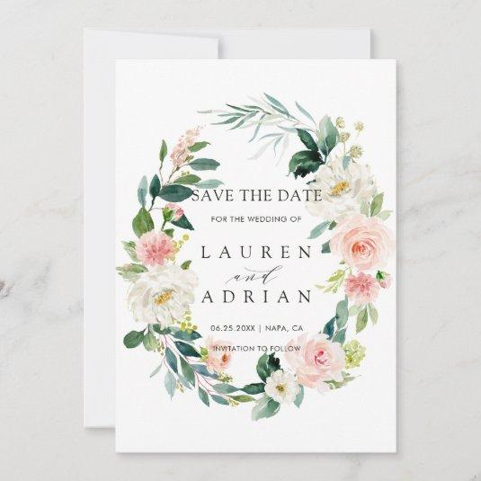 Spring Blush Floral Wreath Wedding Save the Date