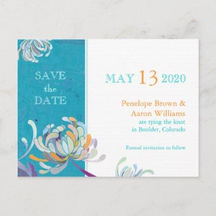 Spring Boho Floral Wedding Save the Date Announcement