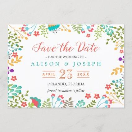 Spring Botanical Floral Turquoise | Save the Date
