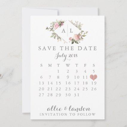 Spring Floral Save The Date Calendar