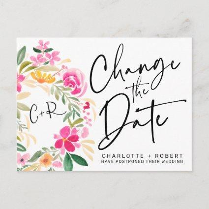 Spring floral wreath chic wedding change the date announcement