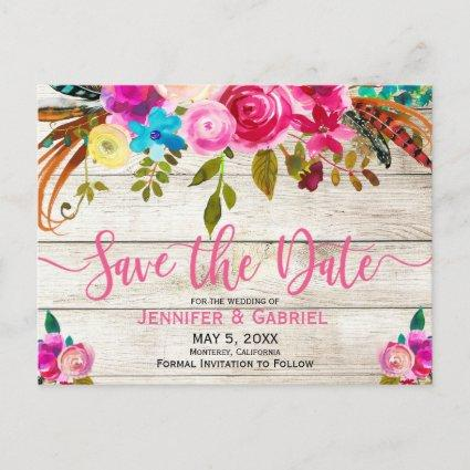 Spring Pink Floral Wood Typography Save the Date Announcement