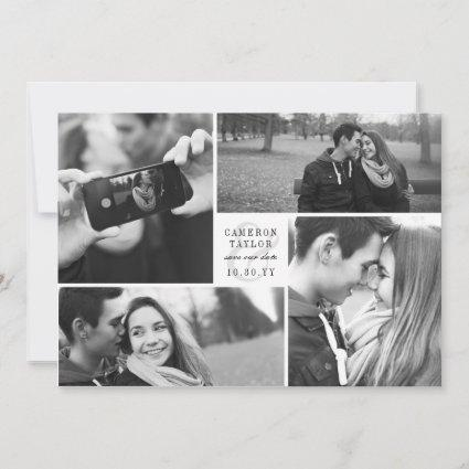 Square Block 4 Photo Collage Modern Save The Date