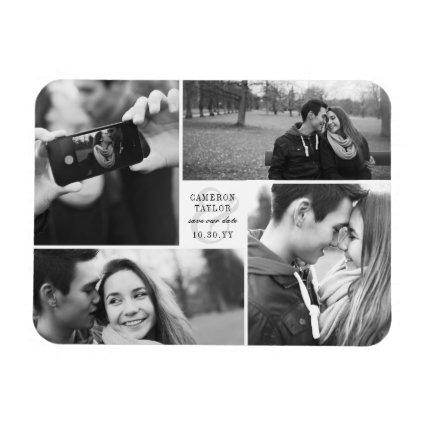 Square Block 4 Photo Collage Modern Save The Date Magnet