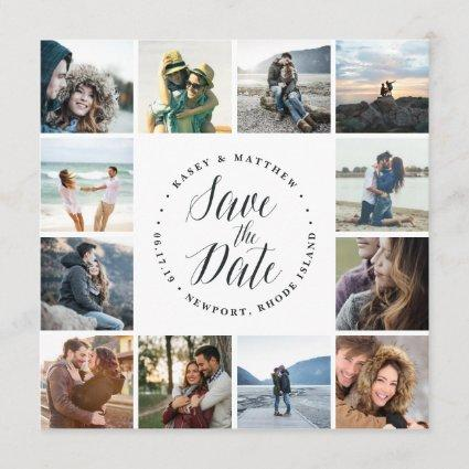 Square Photo Collage Save the Date Card   White