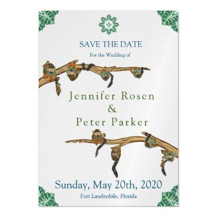 Squirrel Monkeys, Branches, and Jungle Leaves Magnetic Invitation