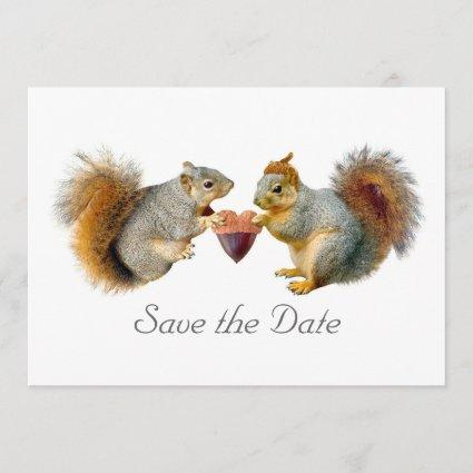 Squirrels Heart Acorn Save the Date Card