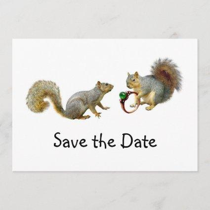 Squirrels with Ring Save the Date