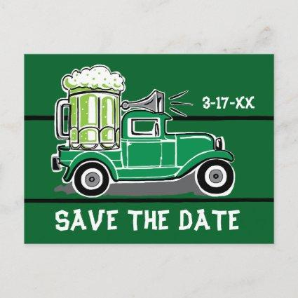 St Patrick's Day Party Vintage Truck Save the Date Announcement