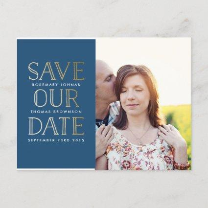 Stacked Gold Save the Date Cards with Photo
