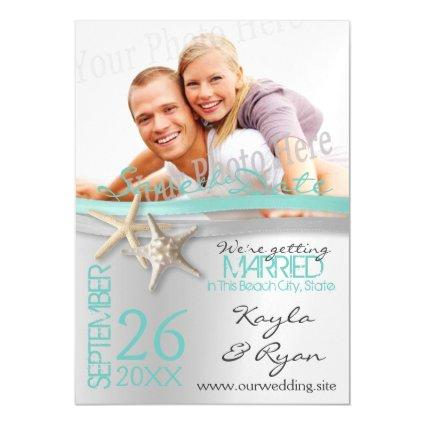 Starfish and Ribbon Save the Date Magnetic Invitation