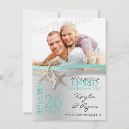 Starfish and Ribbon Save the Date with Photo
