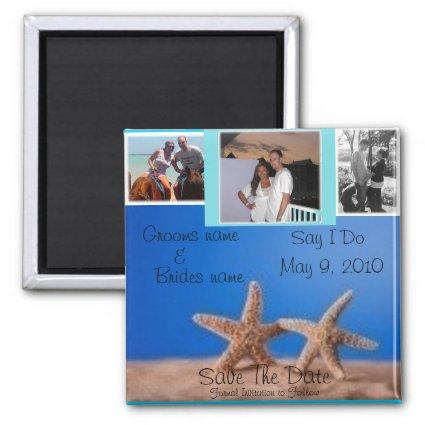 Starfish BEach Save the date 3 Magnets