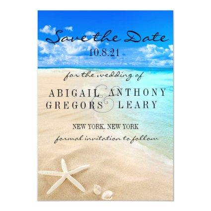 Starfish Destination Beach Save the Date Magnetic Invitation