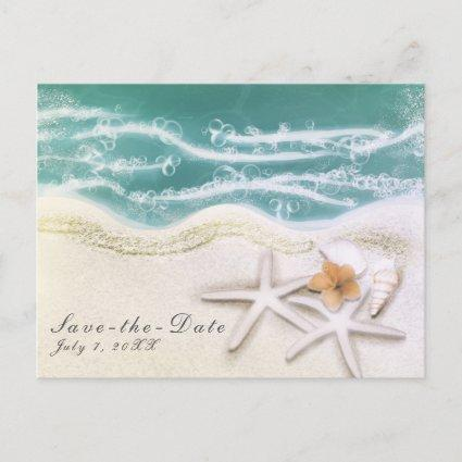 Starfish on the Beach Teal Sea Water Save the Date Announcement