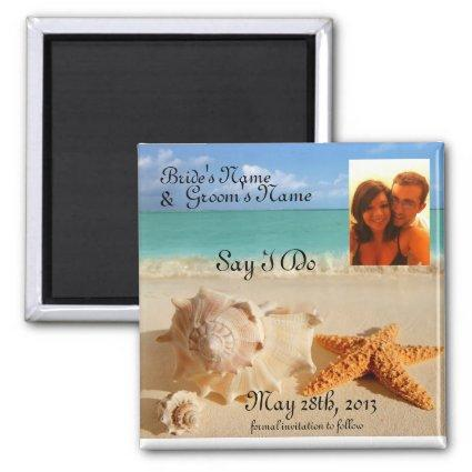 Starfish&Seashells beach save the date pic Magnets