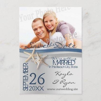Starfish Silver and Blue Ribbon Save the Date