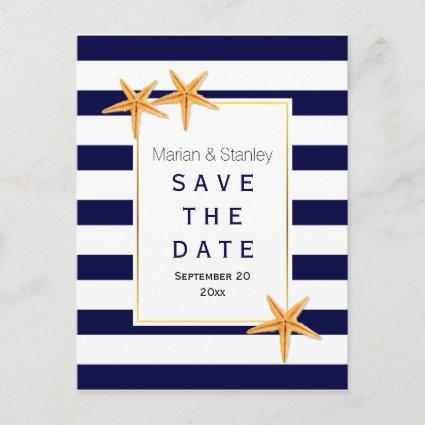 Starfish & stripes beach wedding Save the Date Announcement