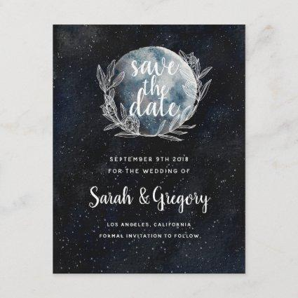 Starry Moonlit Night Monogram Save the Date