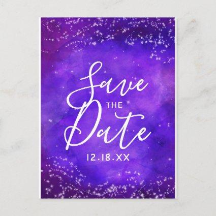 Starry Night Galaxy Watercolor Save the Date Announcement
