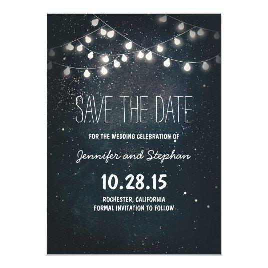 Starry Night String Lights Save the Date Card