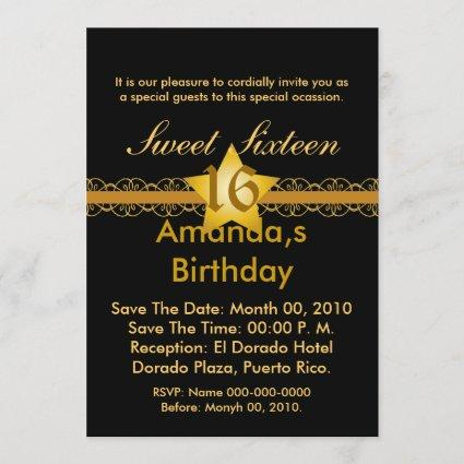 Starry Ribbon Sweet Sixteen Invitation!-Cust. Save The Date