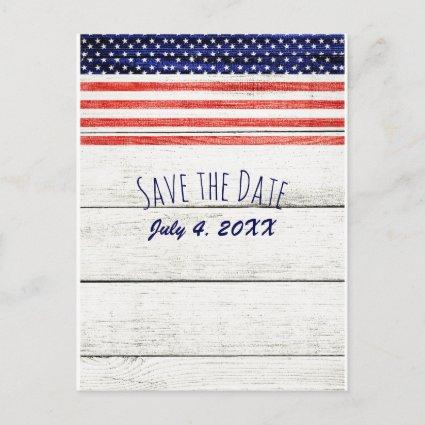 Stars Stripes Rustic Wood Patriotic Save the Date Announcement