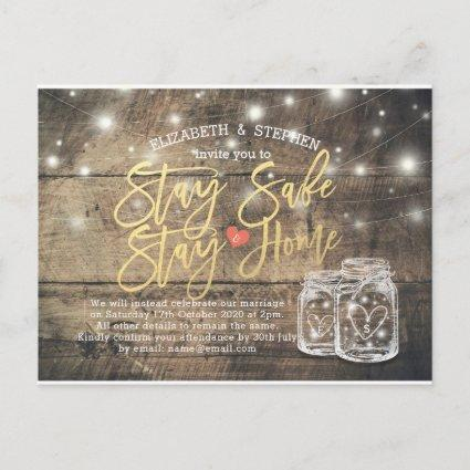STAY HOME STAY SAFE WEDDING POSTPONEMENT MASON JAR ANNOUNCEMENT