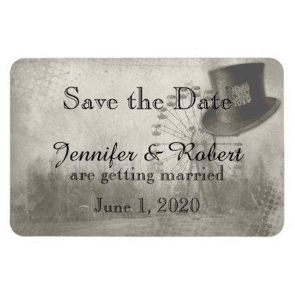 Steampunk Carnival Top Hat Wedding Save the Date Magnet