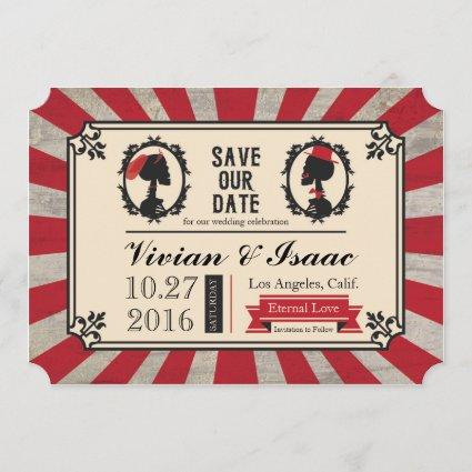 Steampunk Skull Cameo Wedding Save the Dates Save The Date