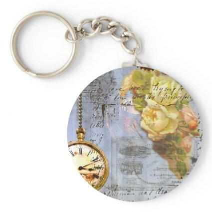 Steampunk & Yellow Roses Keychain