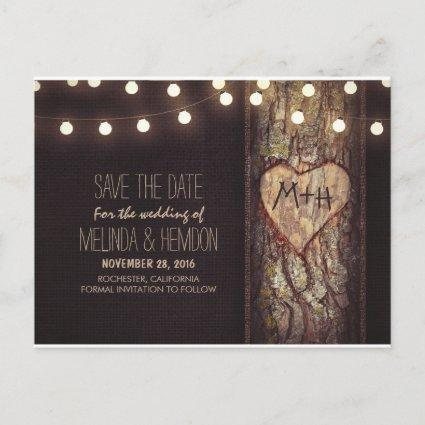 String lights carved heart rustic save the date announcement