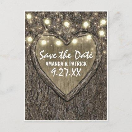 String Lights Carved Oak Tree Save The Date Cards