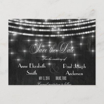 String lights chalkboard Save the Date II Announcement