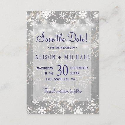 String lights crystal snowflakes save date wedding save the date