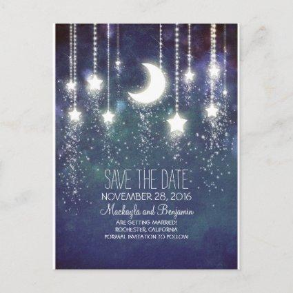 string lights moon stars romantic save the date Announcements Cards