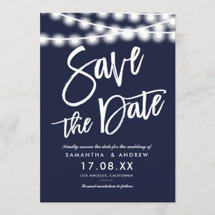 String lights navy blue save the date