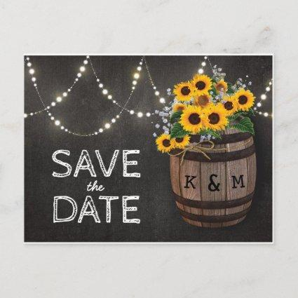 String Lights Rustic Sunflower Save the Date Announcement