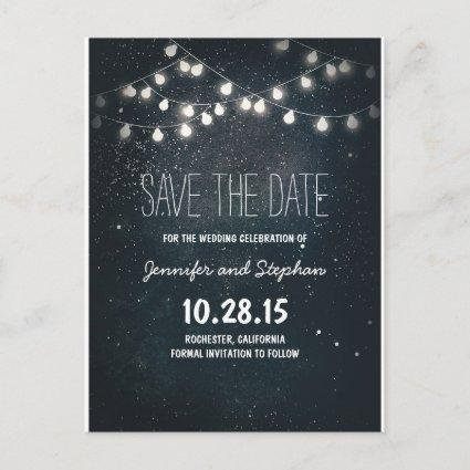 string lights save the date with starry night sky announcement