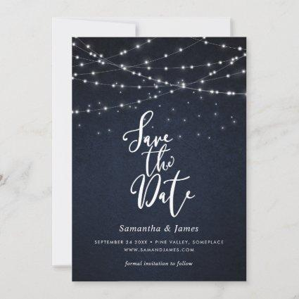 String lights & stars save the date card