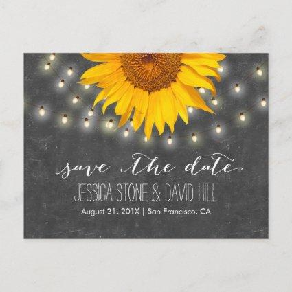 String Lights & Sunflower Wedding Save the Date Announcement