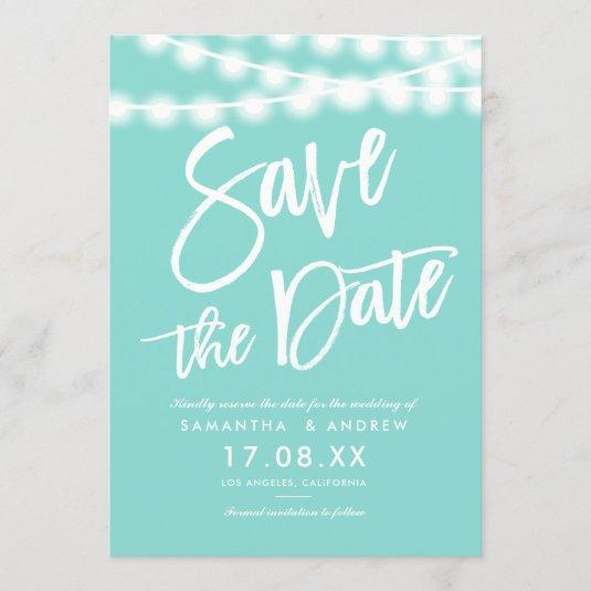 String lights teal blue save the date